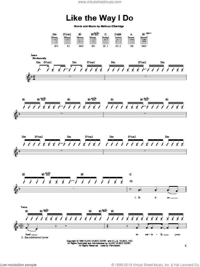 Like The Way I Do sheet music for guitar solo (chords) by Melissa Etheridge, easy guitar (chords). Score Image Preview.