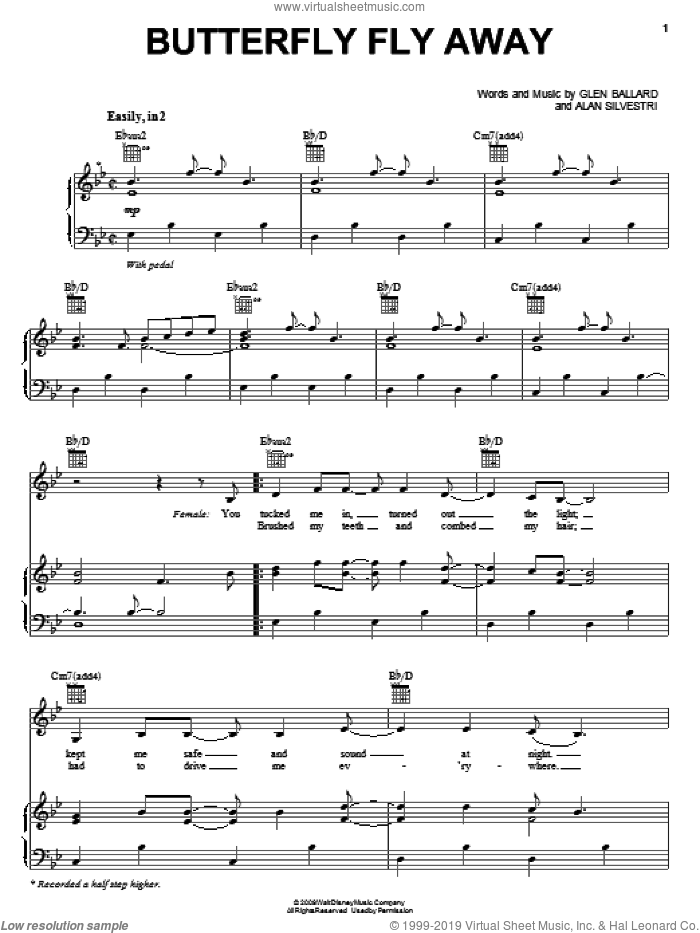 Butterfly Fly Away sheet music for voice, piano or guitar by Miley Cyrus, Hannah Montana, Hannah Montana (Movie), Alan Silvestri and Glen Ballard, intermediate skill level