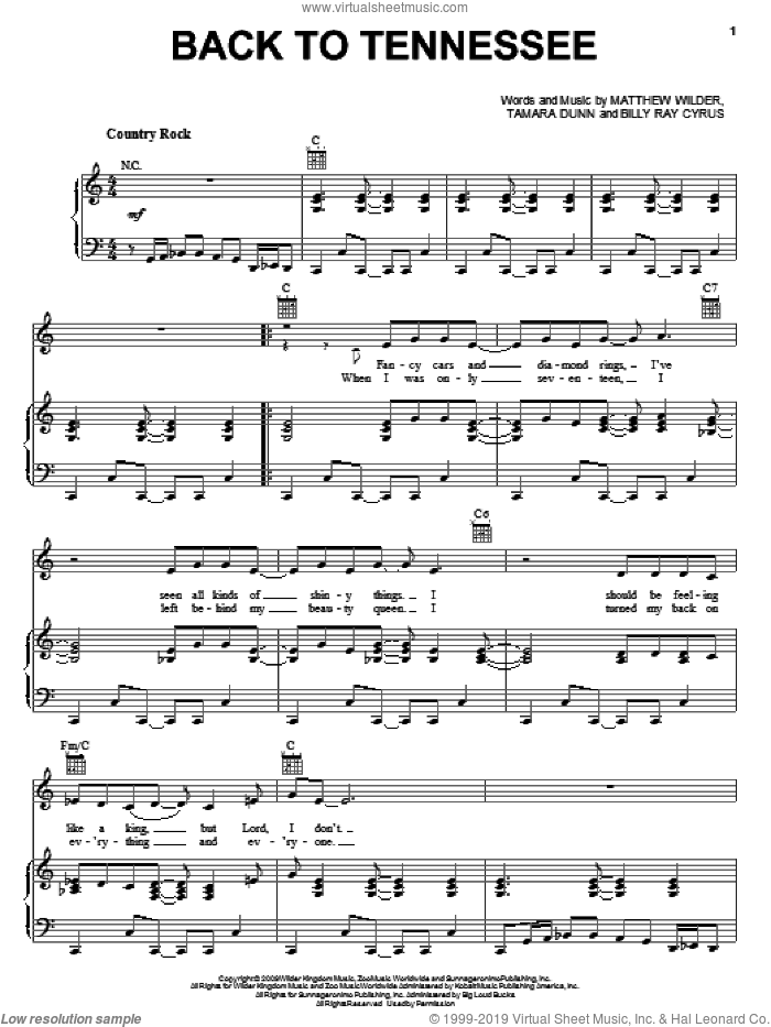 Back To Tennessee sheet music for voice, piano or guitar by Billy Ray Cyrus, Hannah Montana, Hannah Montana (Movie), Matthew Wilder and Tamara Dunn, intermediate skill level
