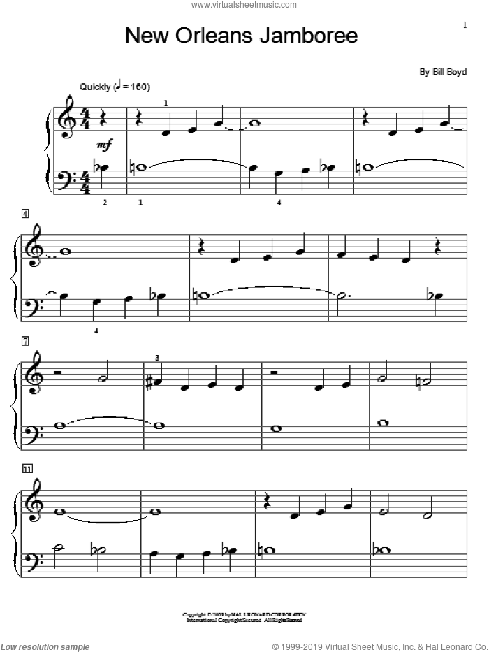 New Orleans Jamboree sheet music for piano solo (elementary) by Bill Boyd and Miscellaneous, beginner piano (elementary)