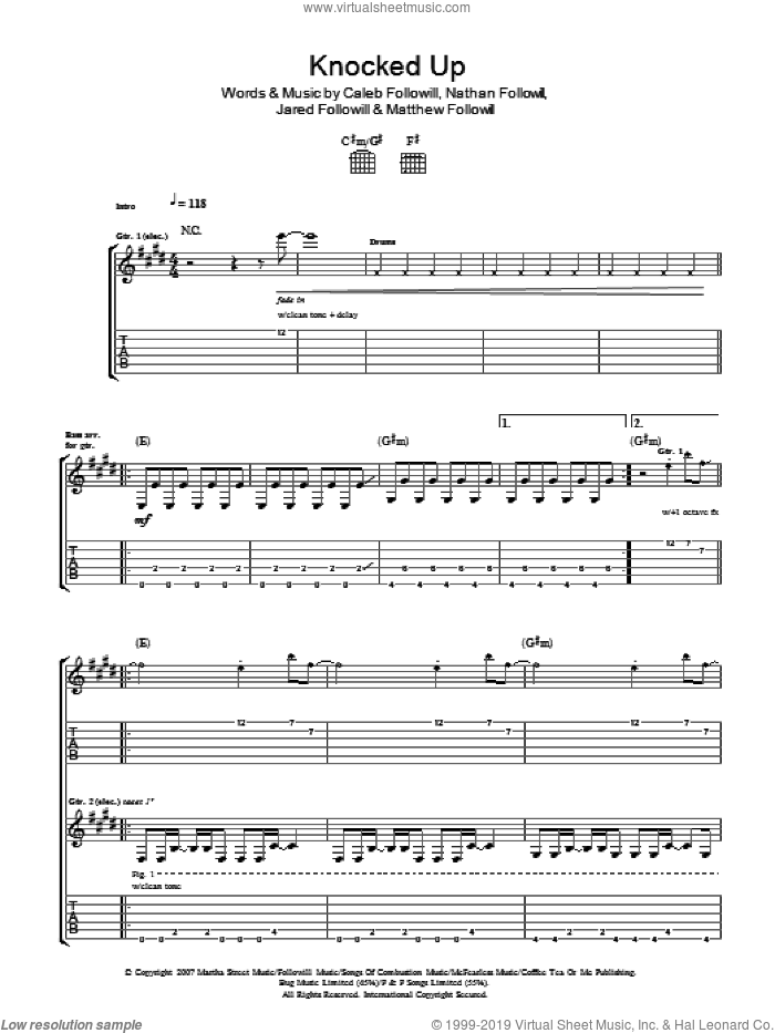 Knocked Up sheet music for guitar (tablature) by Caleb Followill, Kings Of Leon, Matthew Followill and Nathan Followill. Score Image Preview.