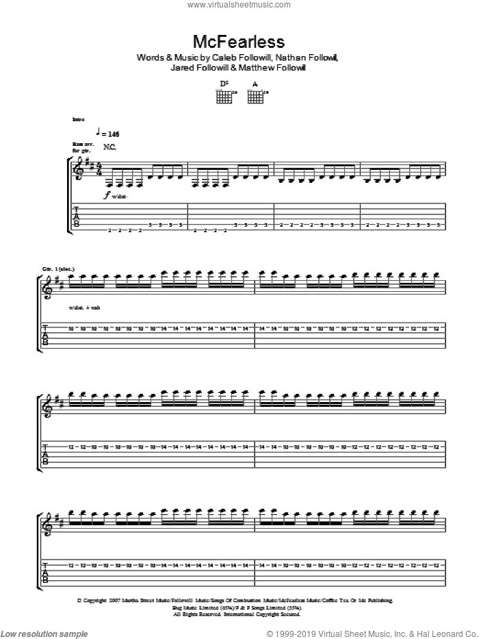 McFearless sheet music for guitar (tablature) by Kings Of Leon, Caleb Followill, Jared Followill, Matthew Followill and Nathan Followill, intermediate skill level