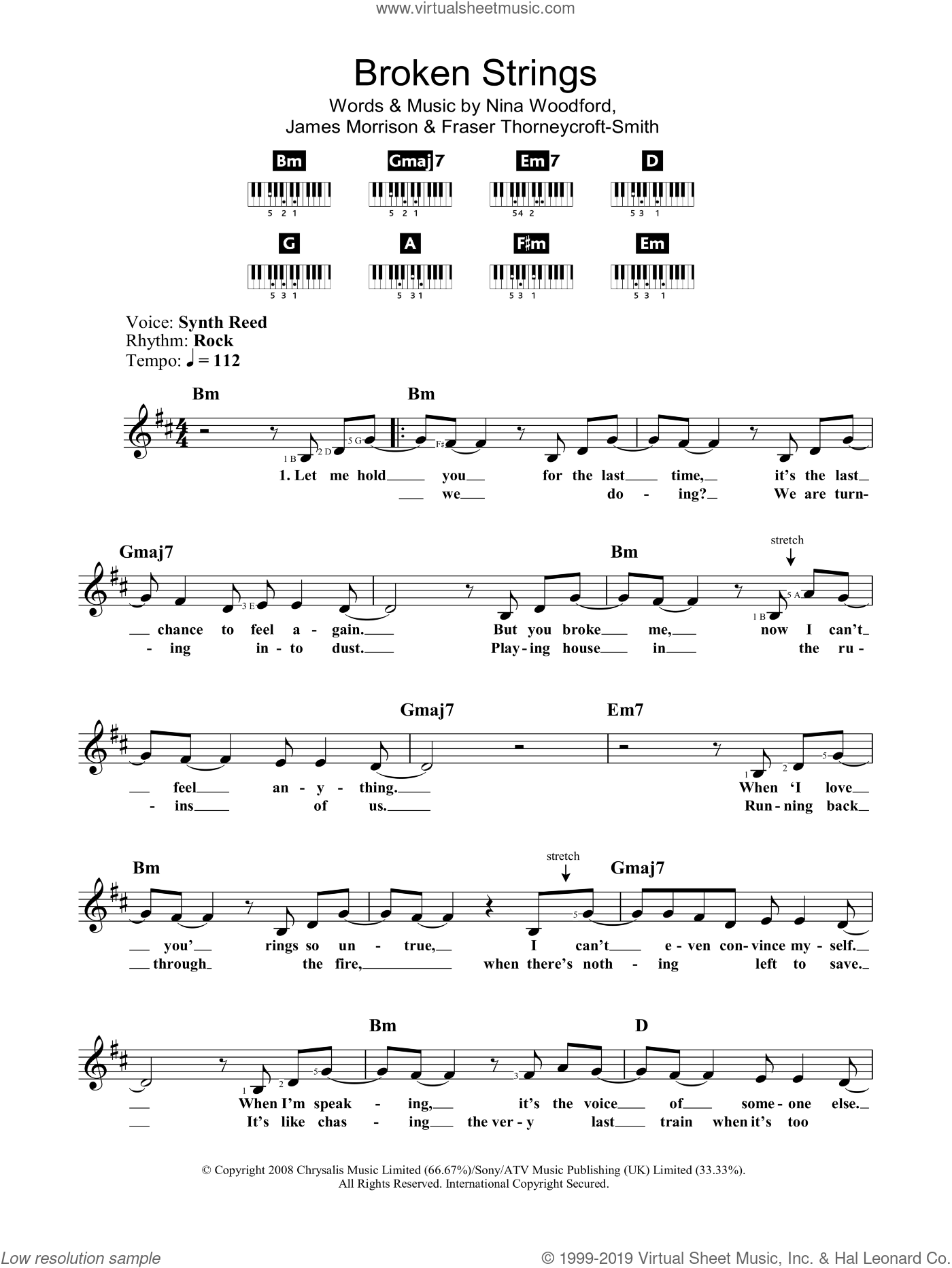 Broken Strings sheet music for voice and other instruments (fake book) by James Morrison featuring Nelly Furtado, James Morrison, Nelly Furtado, Fraser Thorneycroft-Smith and Nina Woodford, intermediate