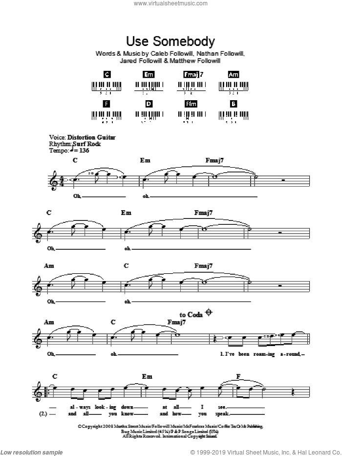 Leon - Use Somebody sheet music (fake book) [PDF]