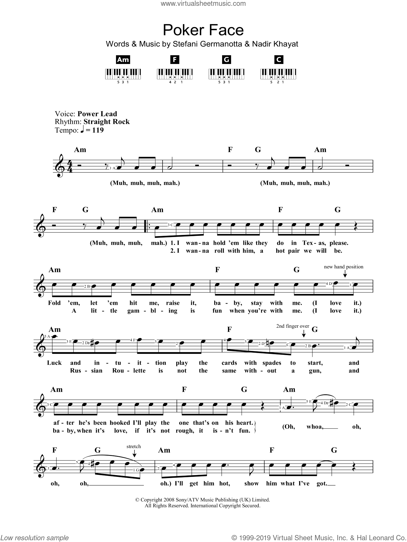 Poker Face sheet music for voice and other instruments (fake book) by Lady GaGa and Nadir Khayat, intermediate skill level