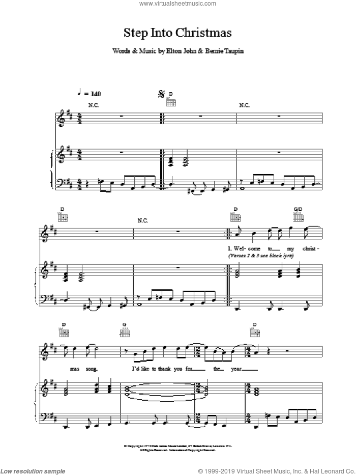 Step Into Christmas sheet music for voice, piano or guitar by Elton John