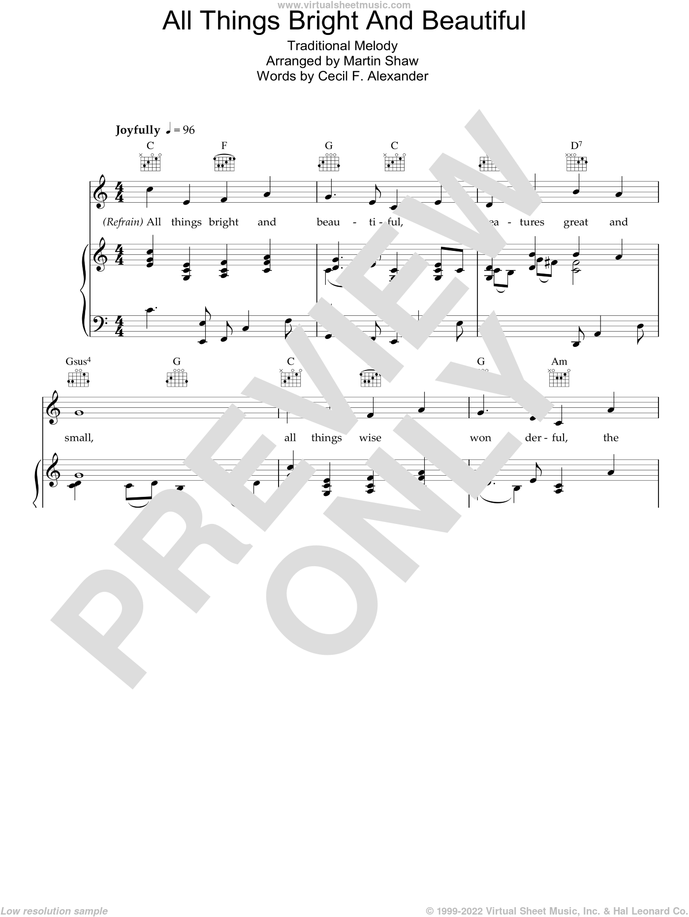 All Things Bright And Beautiful sheet music for voice, piano or guitar