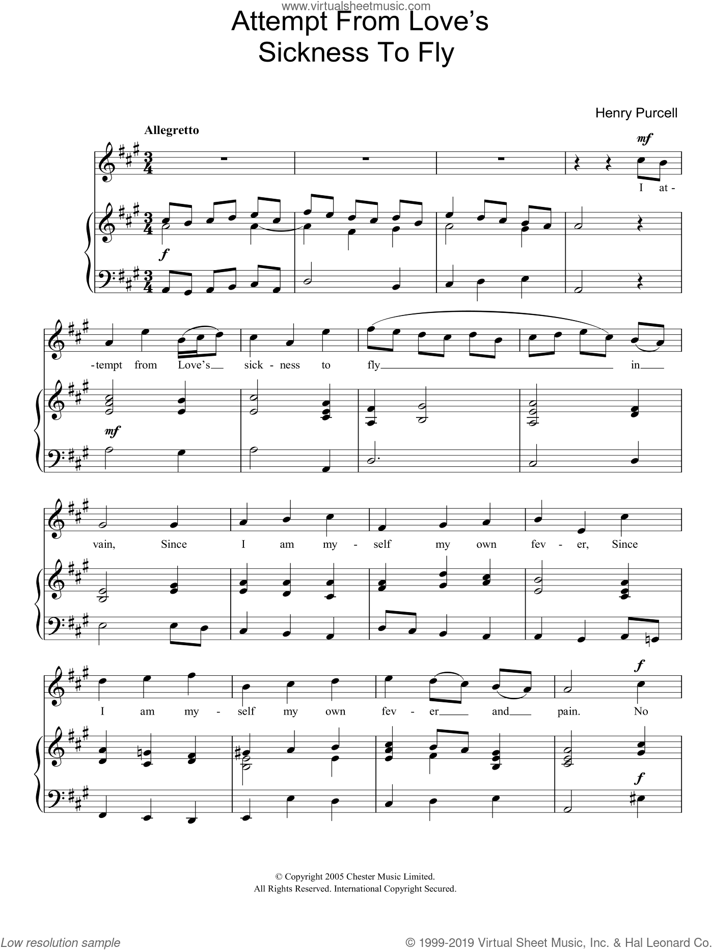 I Attempt From Loves Sickness To Fly (from The Indian Queen) sheet music for piano solo by Henry Purcell, classical score, easy skill level