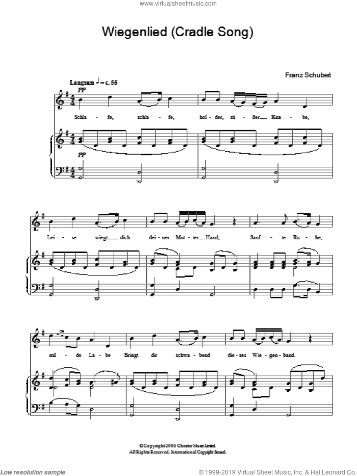 Wiegenlied (Cradle Song) Op.98 No.2 sheet music for piano solo by Franz Schubert, classical score, easy skill level