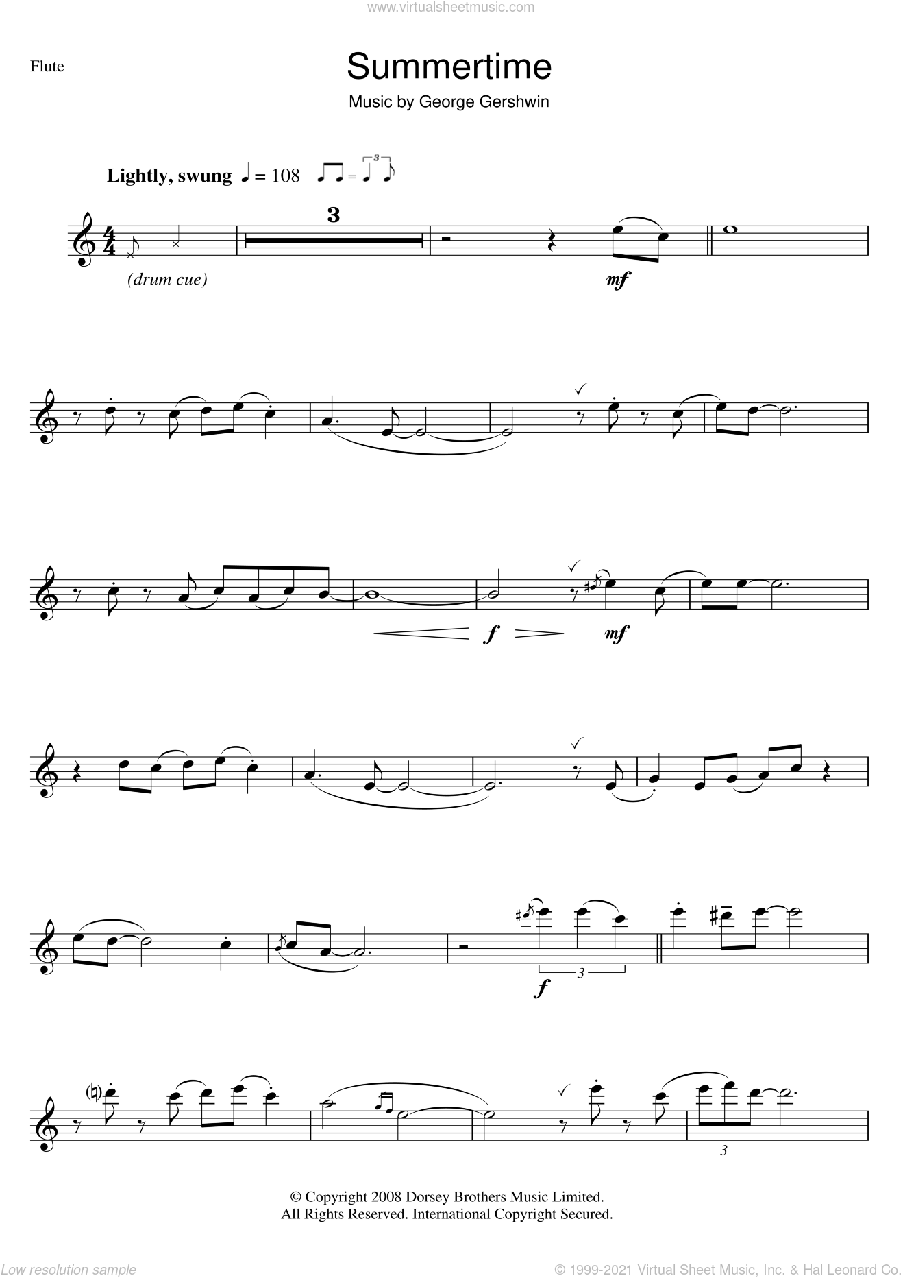 Summertime sheet music for flute solo by George Gershwin, intermediate skill level