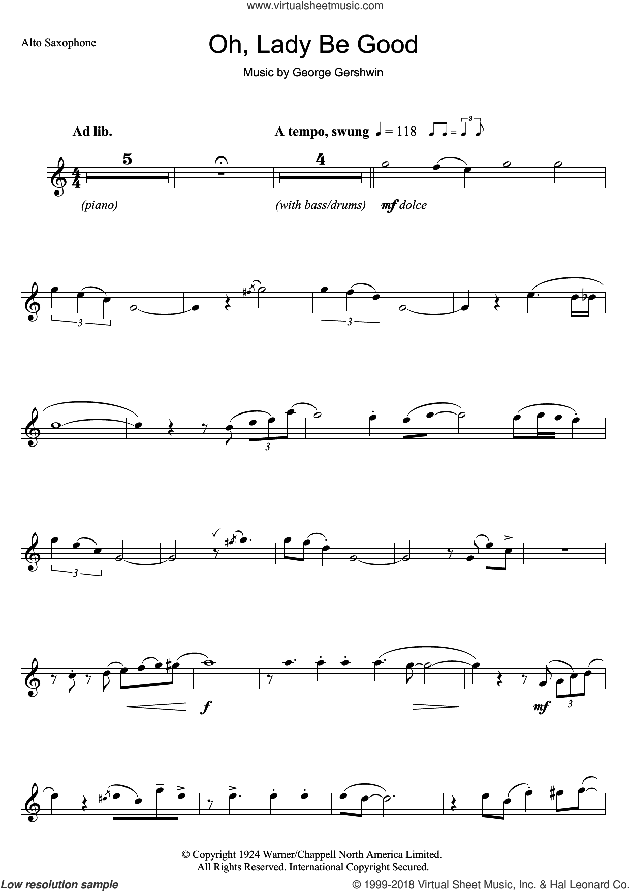 Oh, Lady, Be Good sheet music for alto saxophone solo by George Gershwin, intermediate skill level