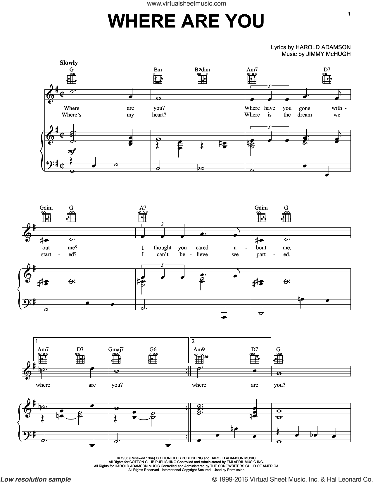 Where Are You sheet music for voice, piano or guitar by Jimmy McHugh