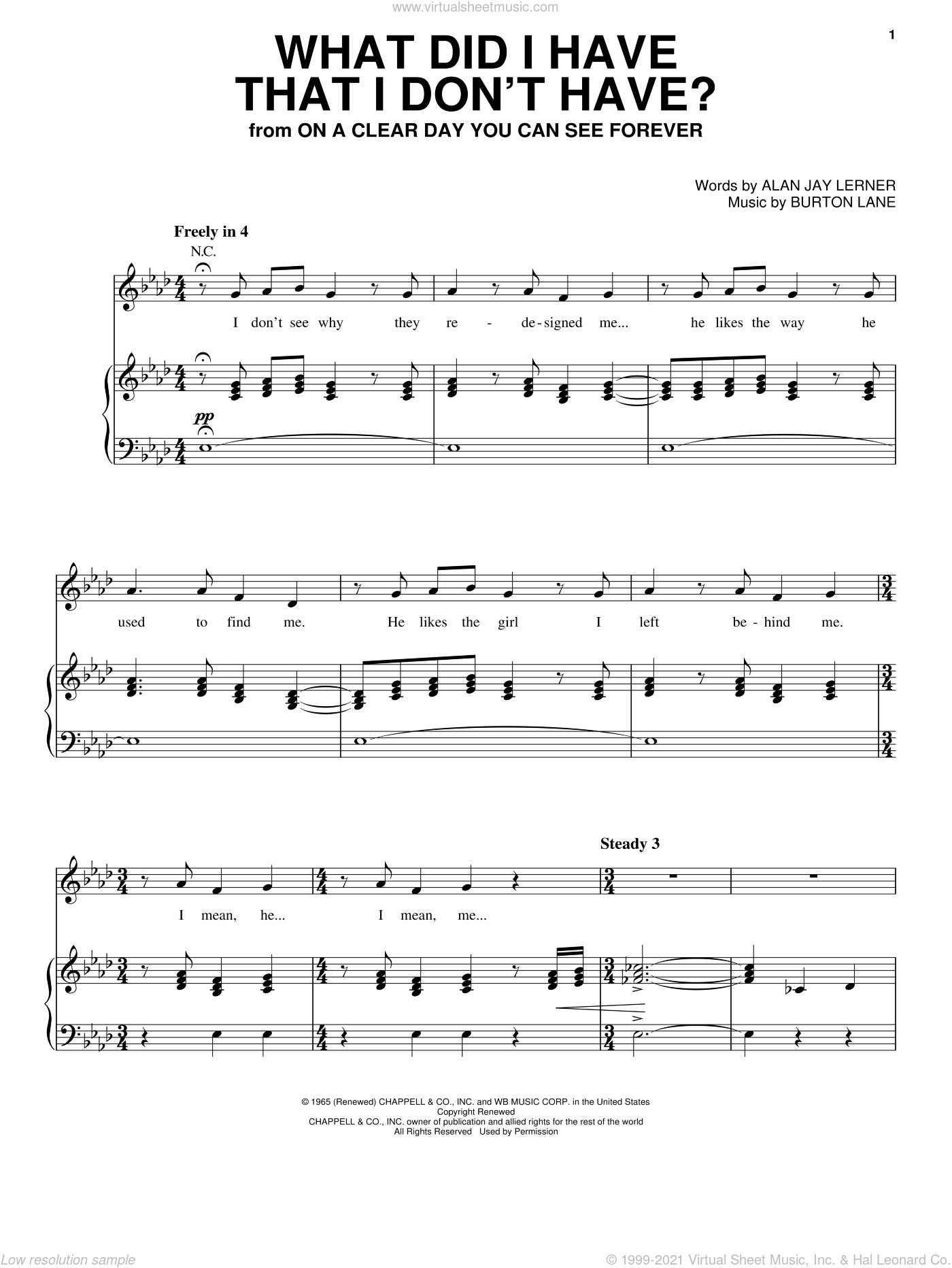 What Did I Have That I Don't Have? sheet music for voice, piano or guitar by Alan Jay Lerner and Burton Lane, intermediate voice, piano or guitar. Score Image Preview.