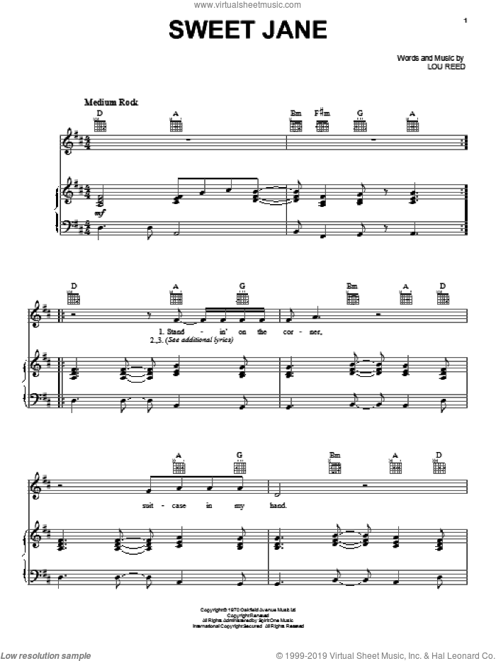 Sweet Jane sheet music for voice, piano or guitar by The Velvet Underground, Cowboy Junkies and Lou Reed, intermediate skill level