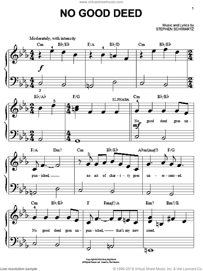 No Good Deed sheet music for piano solo (big note book) by Stephen Schwartz. Score Image Preview.