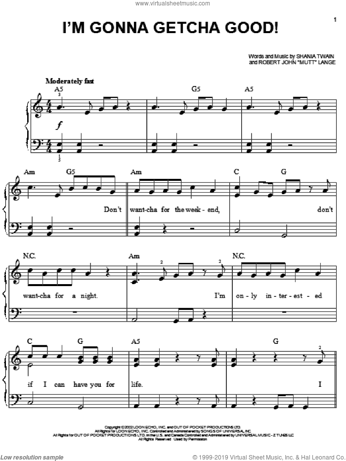 I'm Gonna Getcha Good! sheet music for piano solo by Shania Twain, Jonas Brothers and Robert John Lange, easy skill level
