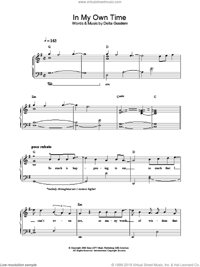 In My Own Time sheet music for piano solo by Delta Goodrem