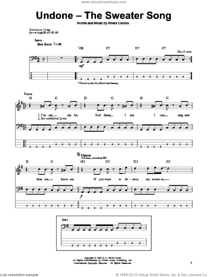 Undone - The Sweater Song sheet music for bass (tablature) (bass guitar) by Rivers Cuomo