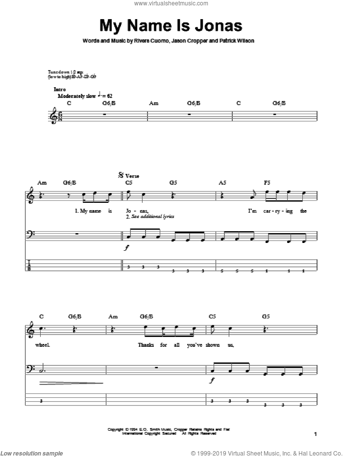My Name Is Jonas sheet music for bass (tablature) (bass guitar) by Weezer and Patrick Wilson. Score Image Preview.