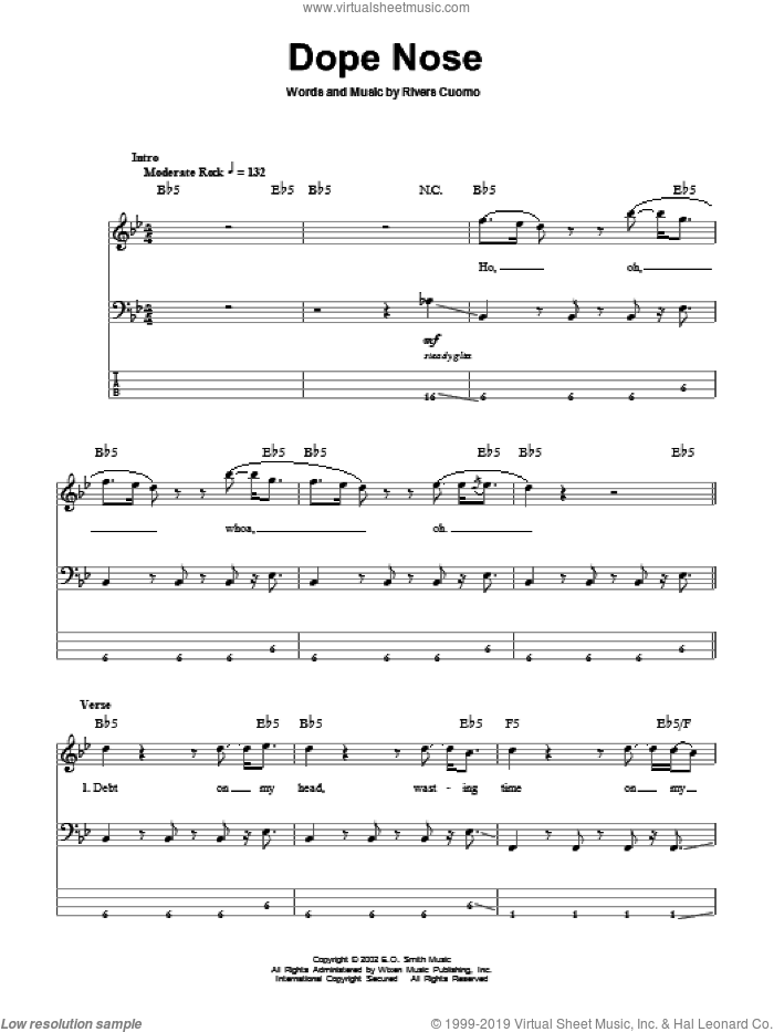 Dope Nose sheet music for bass (tablature) (bass guitar) by Rivers Cuomo and Weezer