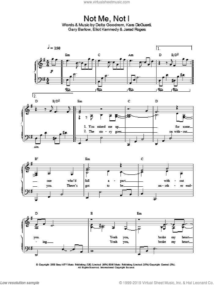 Not Me, Not I sheet music for piano solo by Delta Goodrem