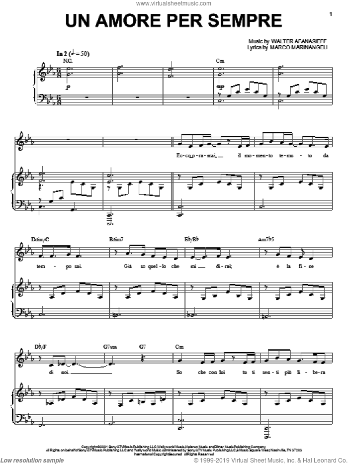 Un Amore Per Sempre sheet music for voice and piano by Walter Afanasieff