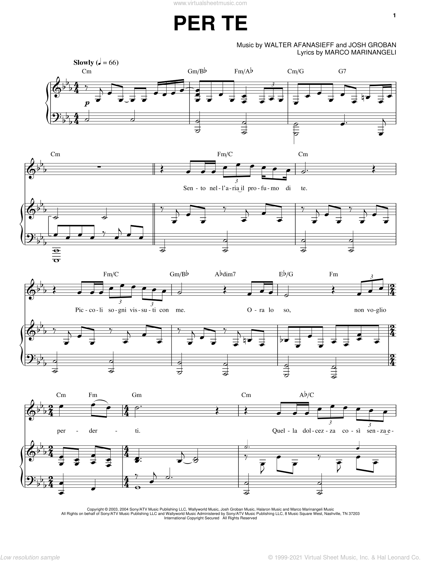 Per Te sheet music for voice and piano by Josh Groban, Marco Marinangeli and Walter Afanasieff, intermediate skill level