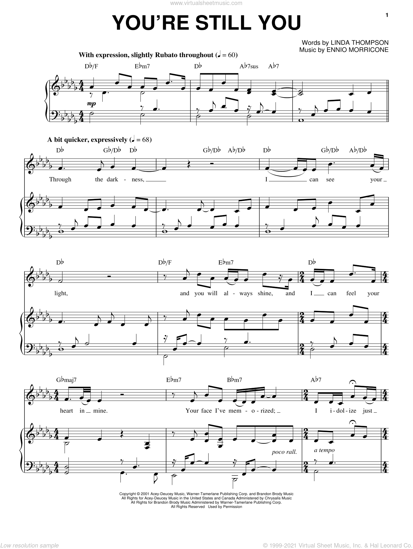 You're Still You sheet music for voice and piano by Linda Thompson, Josh Groban and Ennio Morricone. Score Image Preview.