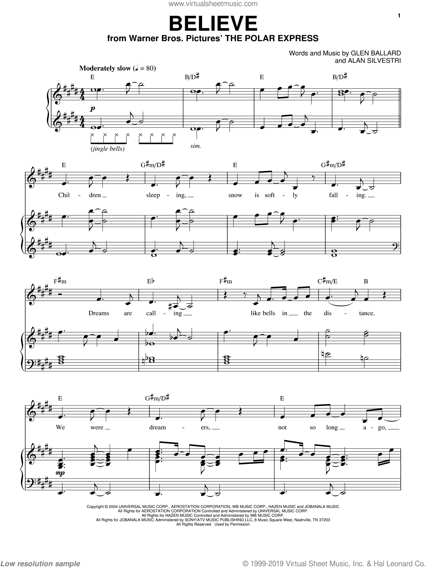 Believe sheet music for voice and piano by Glen Ballard, Josh Groban and Alan Silvestri. Score Image Preview.