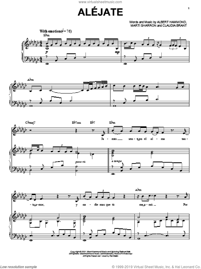 Alejate sheet music for voice and piano by Josh Groban, Albert Hammond, Claudia Brant and Marti Sharron, intermediate skill level