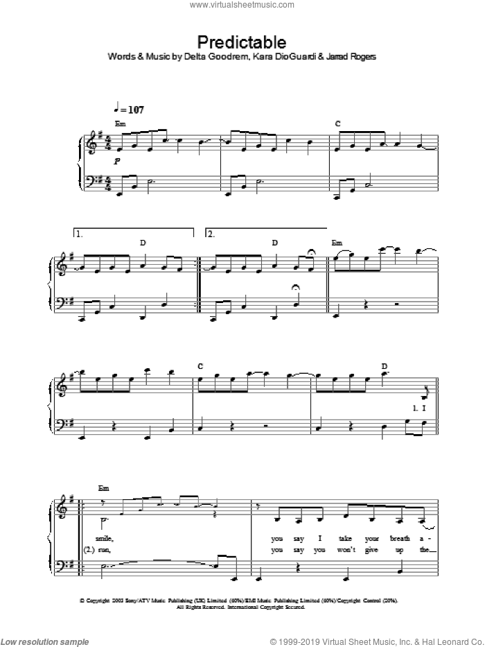 Predictable sheet music for piano solo by Delta Goodrem. Score Image Preview.