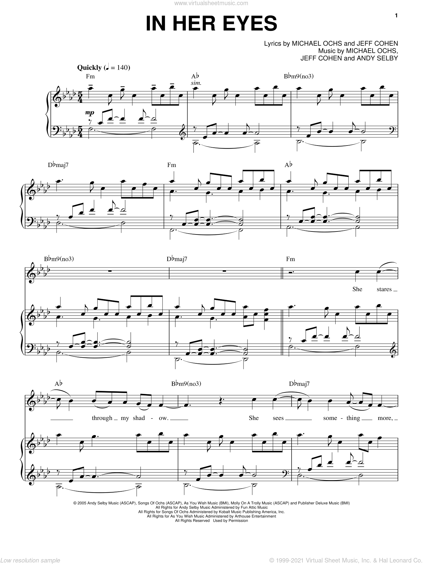 In Her Eyes sheet music for voice and piano by Michael Ochs