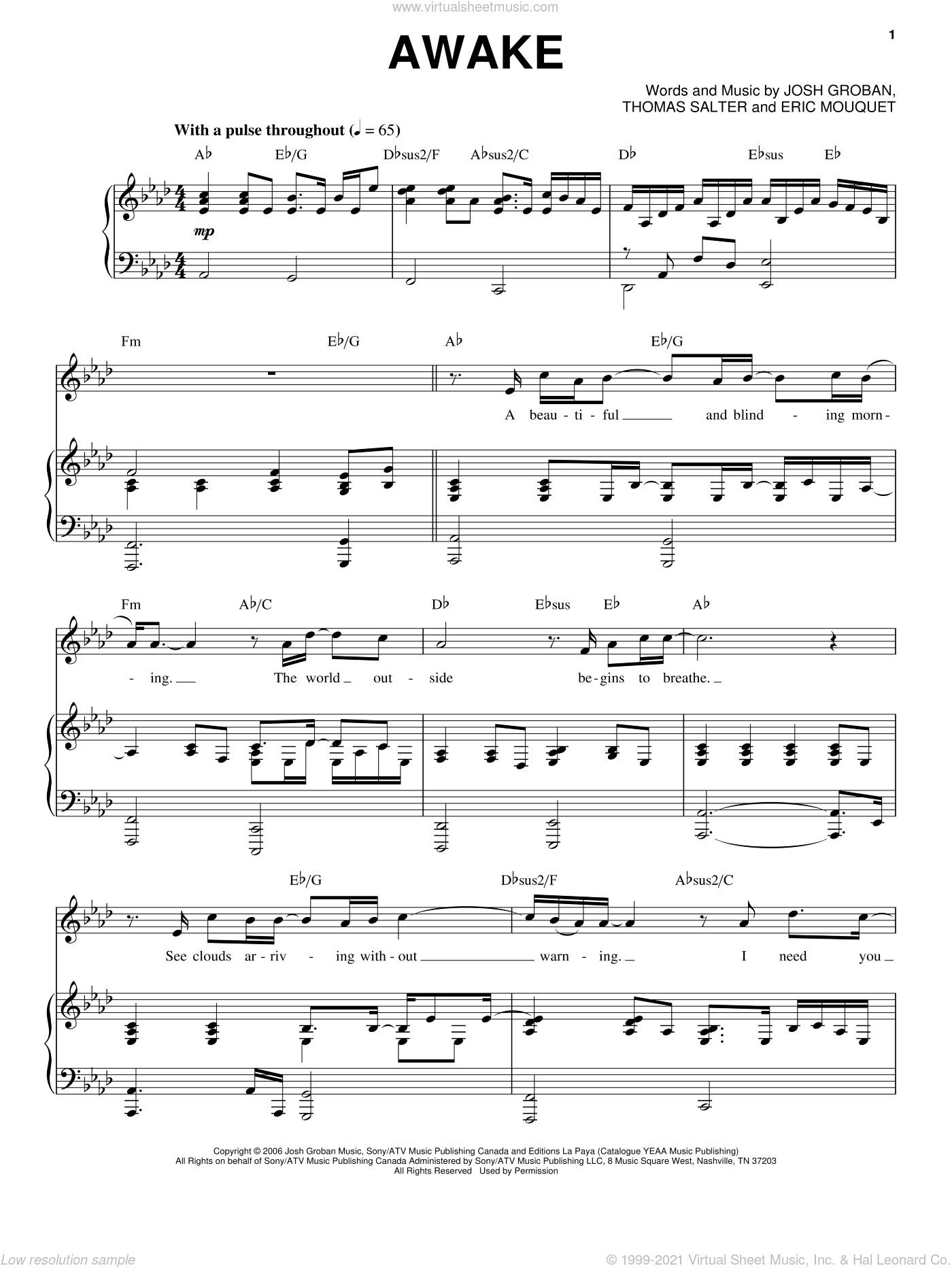 Awake sheet music for voice and piano by Josh Groban, intermediate voice. Score Image Preview.