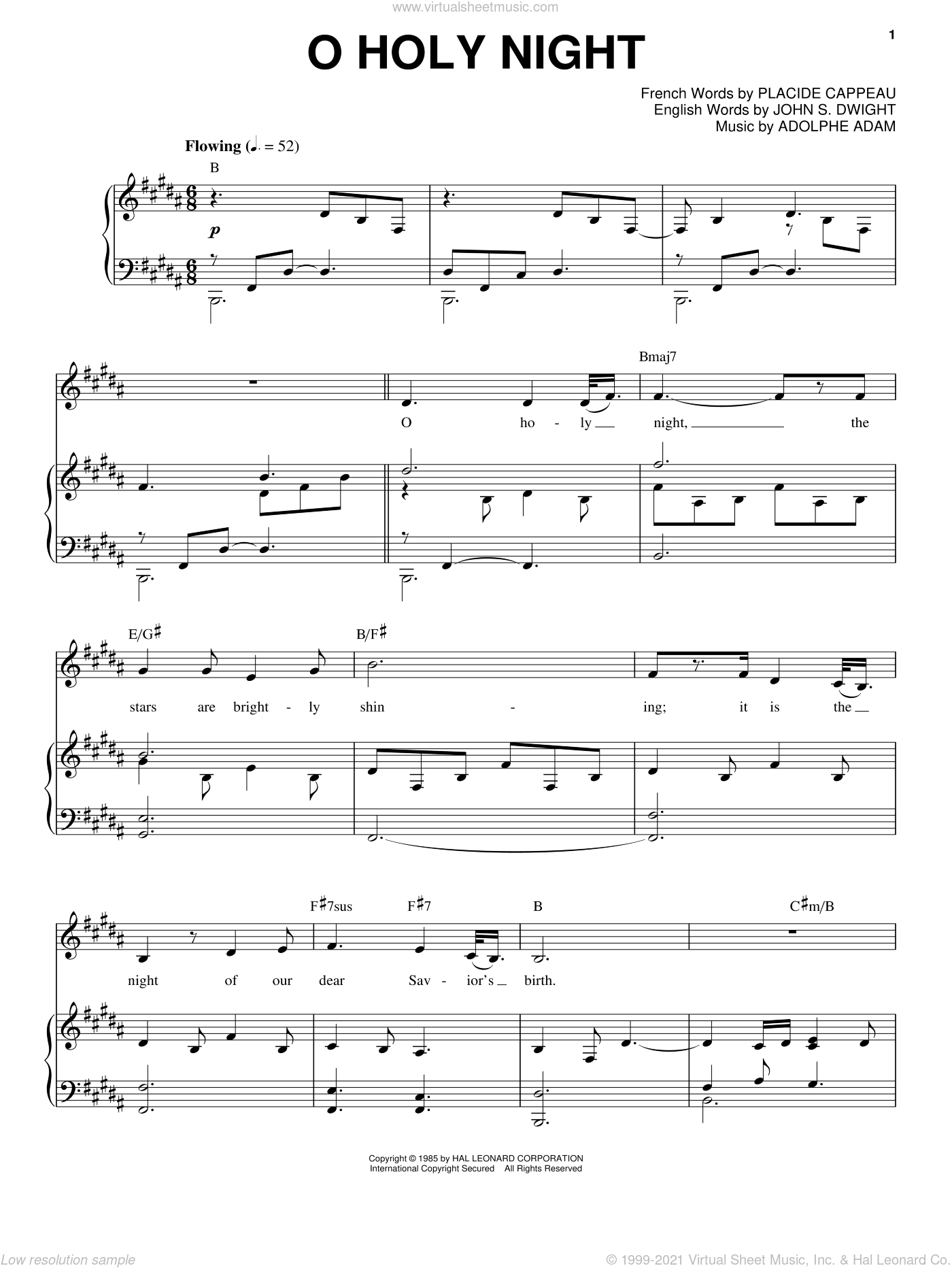 O Holy Night sheet music for voice and piano by Placide Cappeau