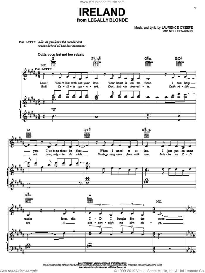 Ireland sheet music for voice, piano or guitar by Legally Blonde The Musical and Nell Benjamin, intermediate skill level