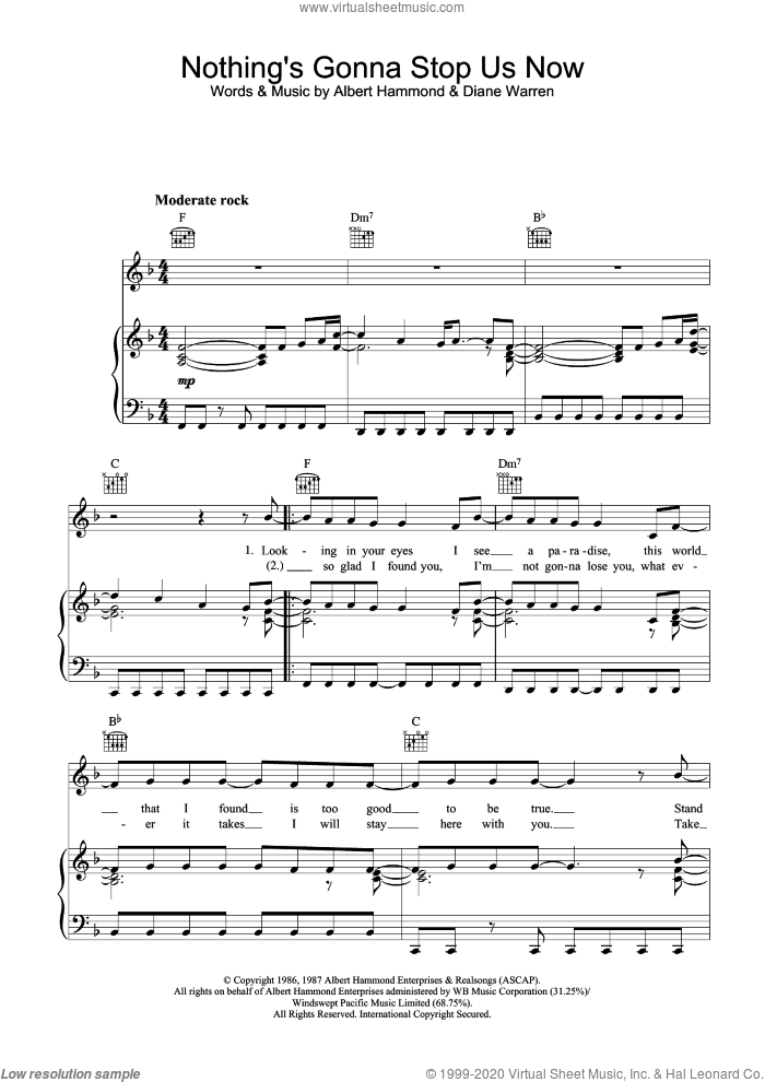 Nothing's Gonna Stop Us Now sheet music for voice, piano or guitar by Starship, Albert Hammond and Diane Warren, intermediate skill level