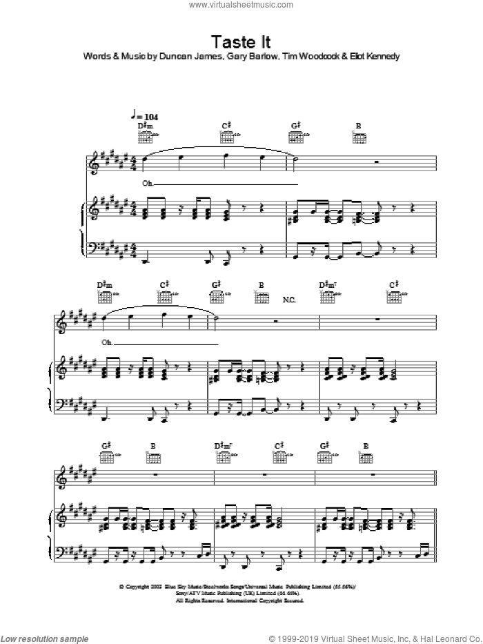 Taste It sheet music for voice, piano or guitar. Score Image Preview.