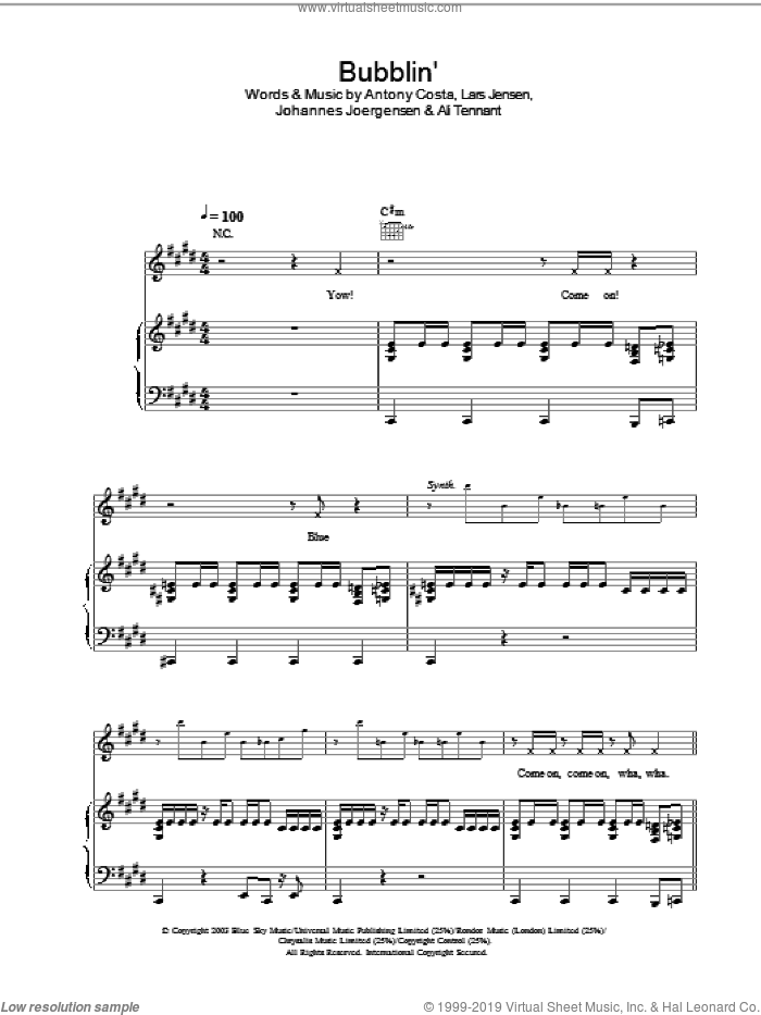 Bubblin' sheet music for voice, piano or guitar. Score Image Preview.