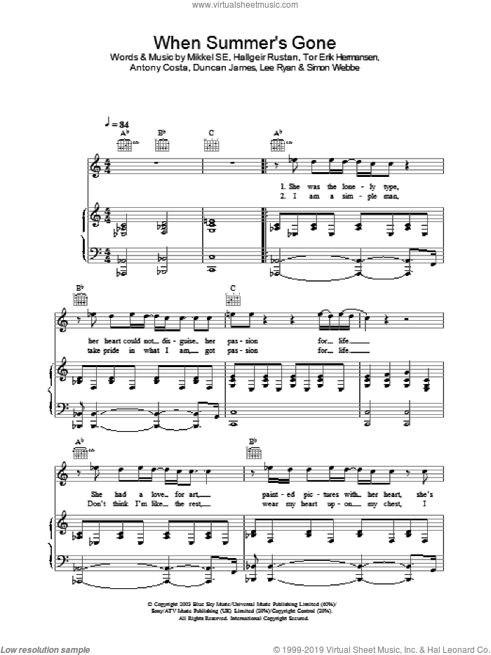 When Summer's Gone sheet music for voice, piano or guitar. Score Image Preview.