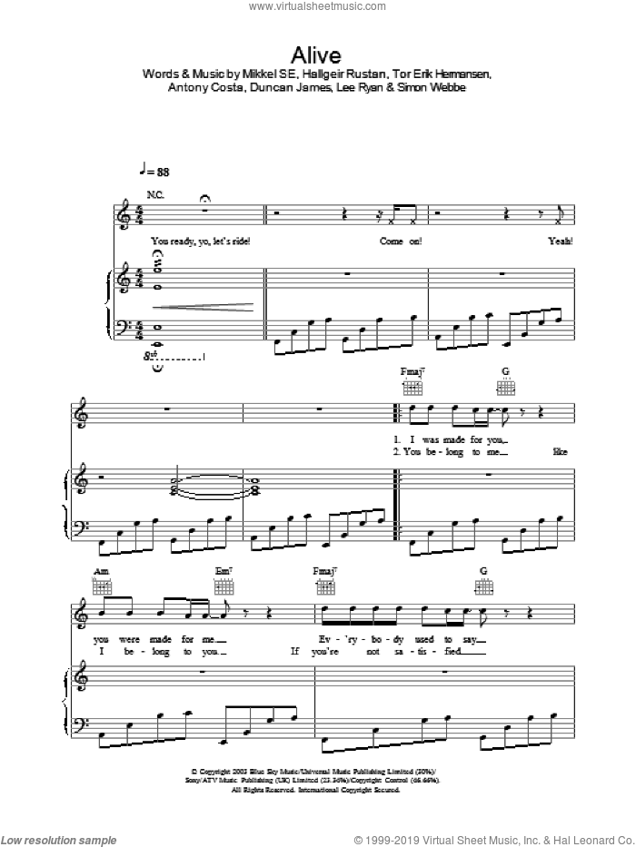 Alive sheet music for voice, piano or guitar. Score Image Preview.