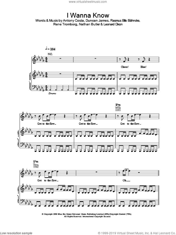 I Wanna Know sheet music for voice, piano or guitar, intermediate skill level