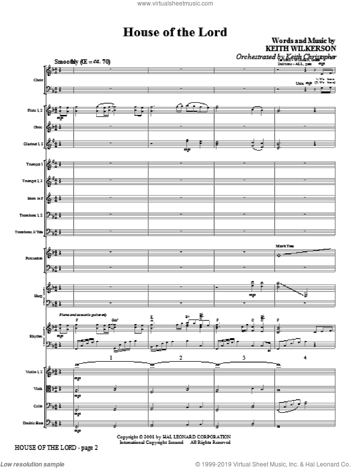 Wilkerson house of the lord sheet music complete for House music orchestra