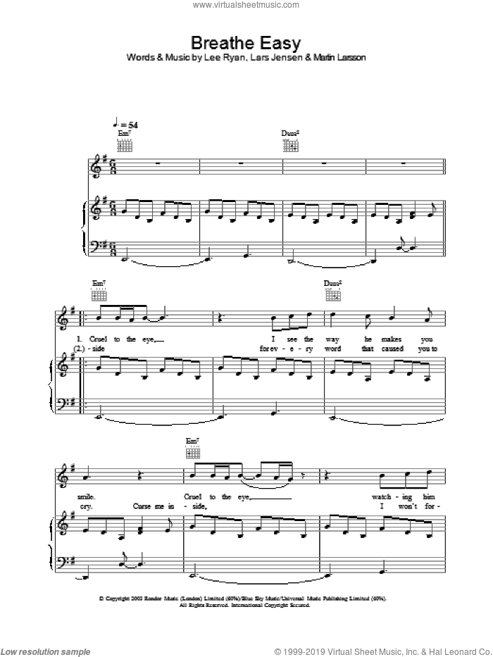 Breathe Easy sheet music for voice, piano or guitar, intermediate voice, piano or guitar. Score Image Preview.