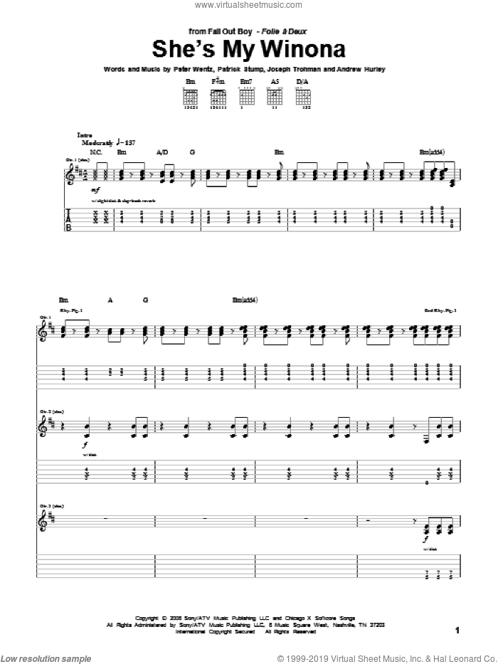 She's My Winona sheet music for guitar (tablature) by Peter Wentz and Fall Out Boy. Score Image Preview.