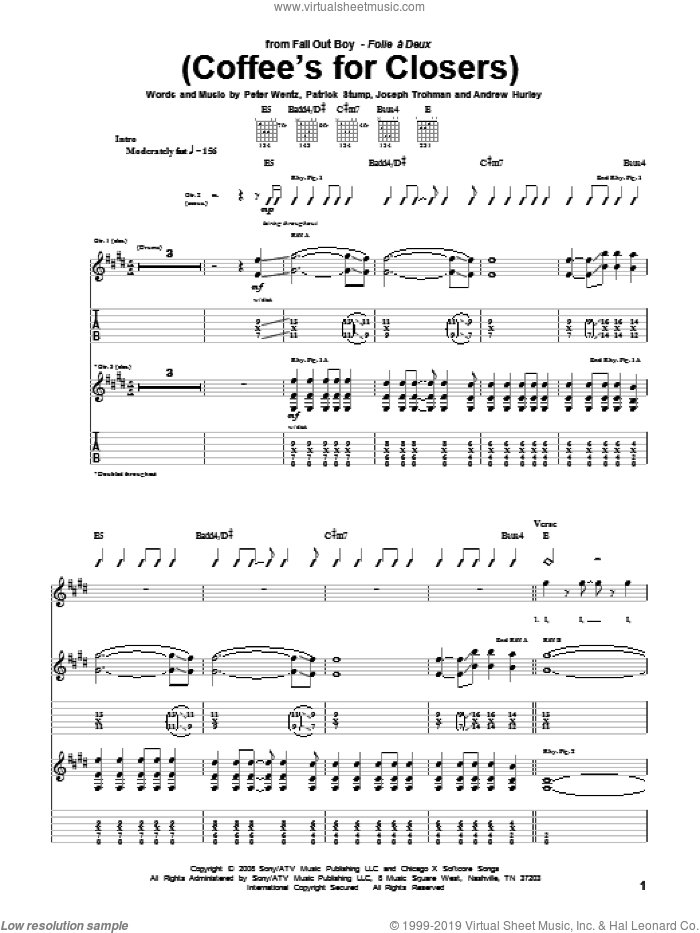 (Coffee's For Closers) sheet music for guitar (tablature) by Fall Out Boy, intermediate guitar (tablature). Score Image Preview.