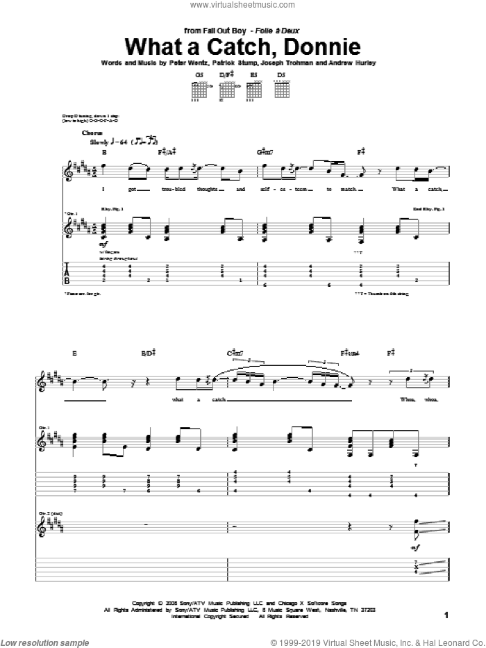 What A Catch, Donnie sheet music for guitar (tablature) by Fall Out Boy, intermediate guitar (tablature). Score Image Preview.