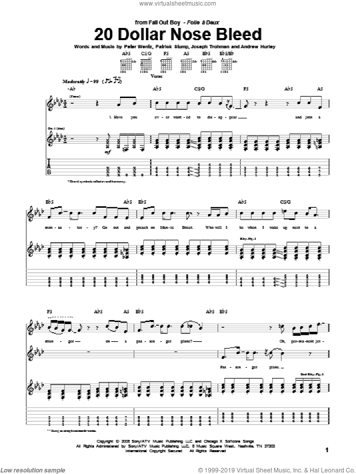 20 Dollar Nose Bleed sheet music for guitar (tablature) by Peter Wentz, Fall Out Boy and Andrew Hurley. Score Image Preview.