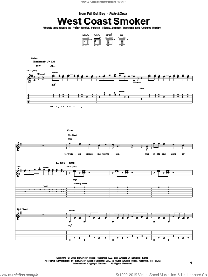 West Coast Smoker sheet music for guitar (tablature) by Fall Out Boy. Score Image Preview.