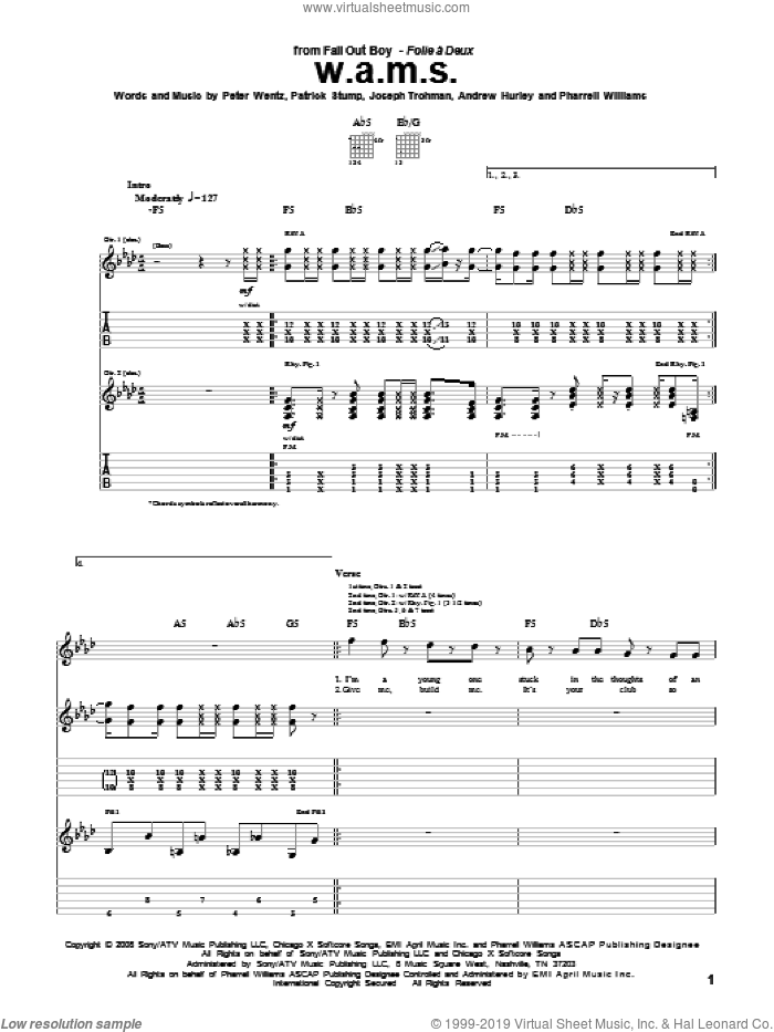 W.A.M.S. sheet music for guitar (tablature) by Fall Out Boy, Andrew Hurley, Joseph Trohman, Patrick Stump, Peter Wentz and Pharrell Williams, intermediate