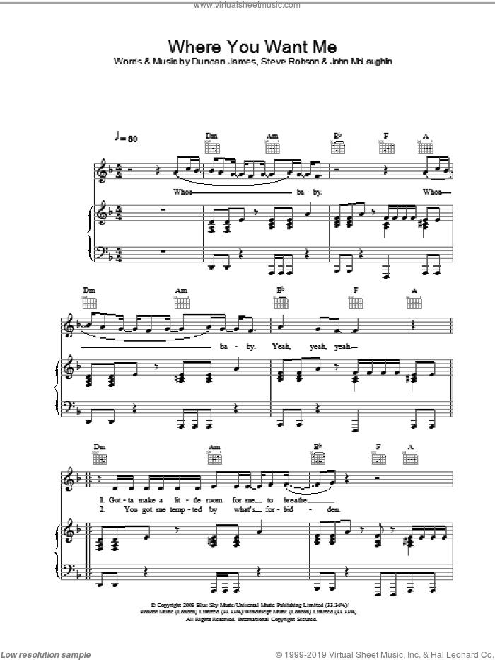Where You Want Me sheet music for voice, piano or guitar. Score Image Preview.